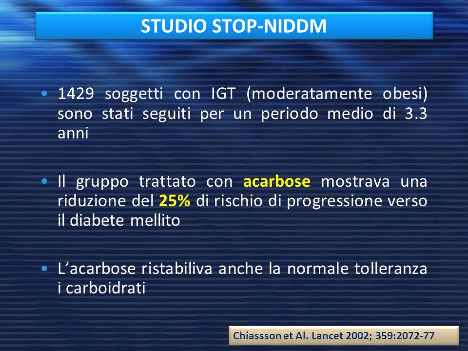 STUDIO STOP-NIDDM 1429 soggetti con IGT (moderatamente obesi) sono stati seguiti per un periodo medio di 3.3 anni Il gruppo trattato con acarbose most