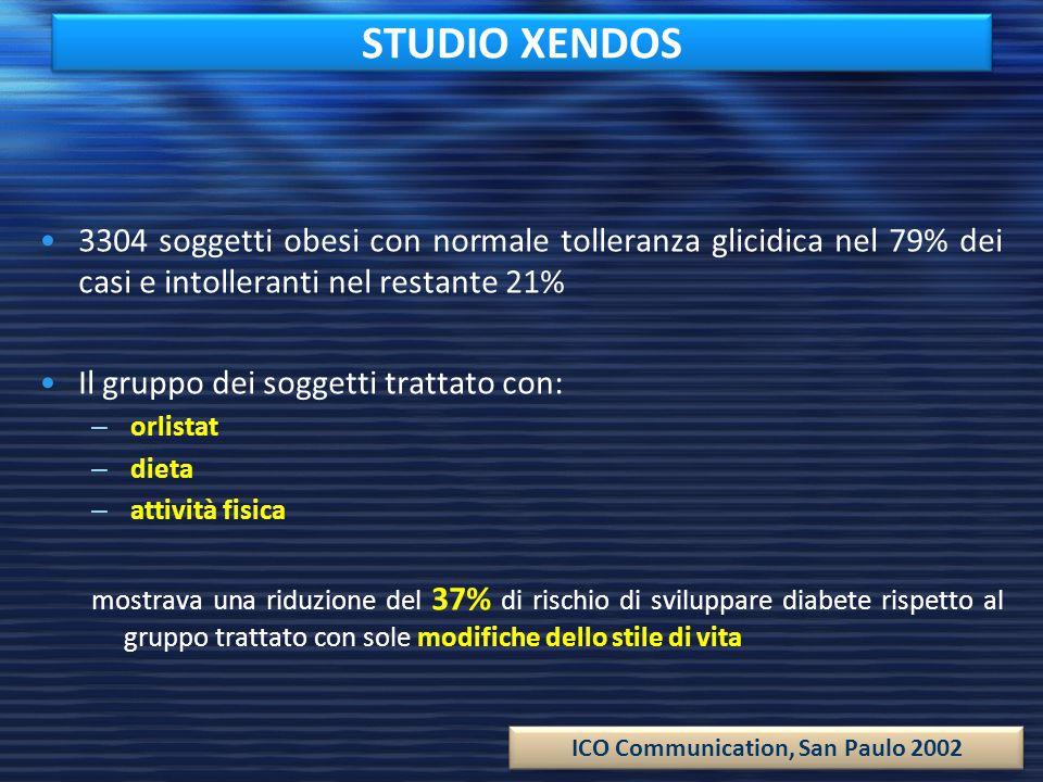 STUDIO XENDOS 3304 soggetti obesi con normale tolleranza glicidica nel 79% dei casi e intolleranti nel restante 21% Il gruppo dei soggetti trattato co