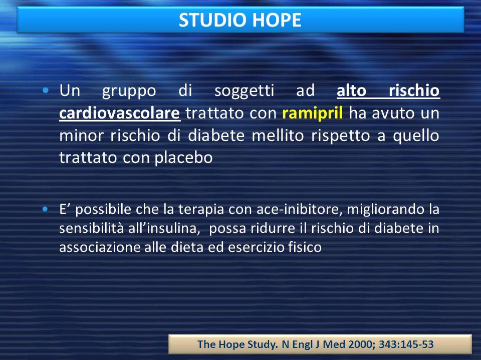 STUDIO HOPE Un gruppo di soggetti ad alto rischio cardiovascolare trattato con ramipril ha avuto un minor rischio di diabete mellito rispetto a quello