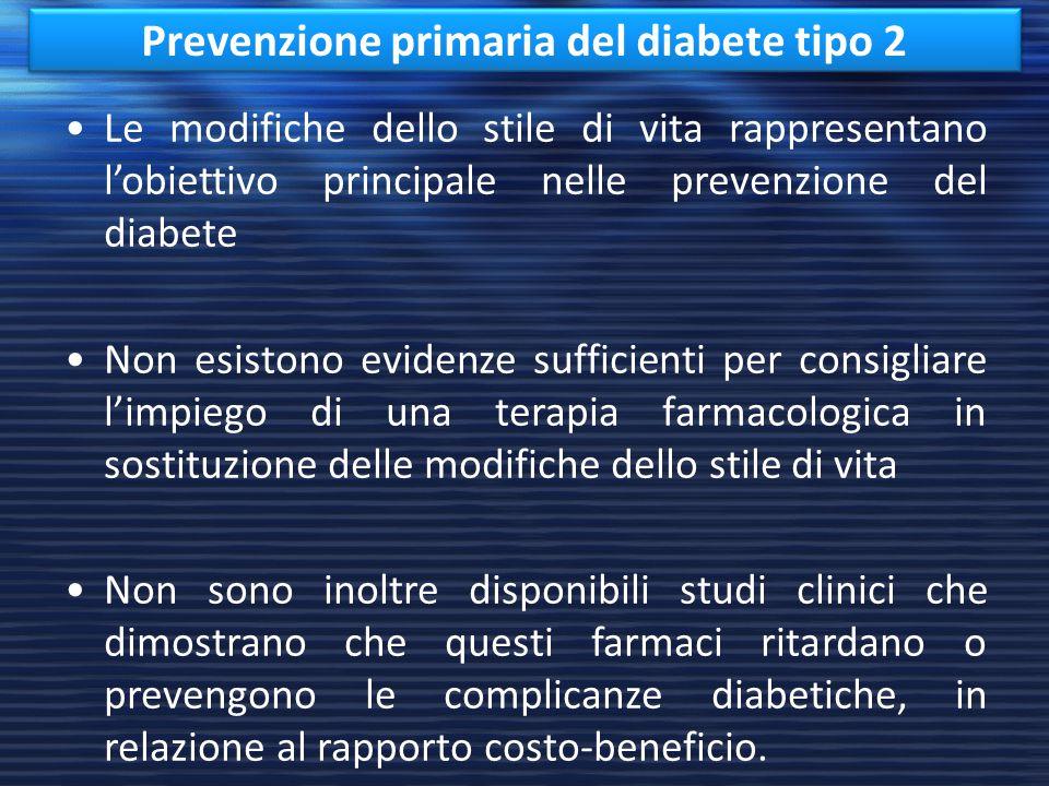 Le modifiche dello stile di vita rappresentano l'obiettivo principale nelle prevenzione del diabete Non esistono evidenze sufficienti per consigliare