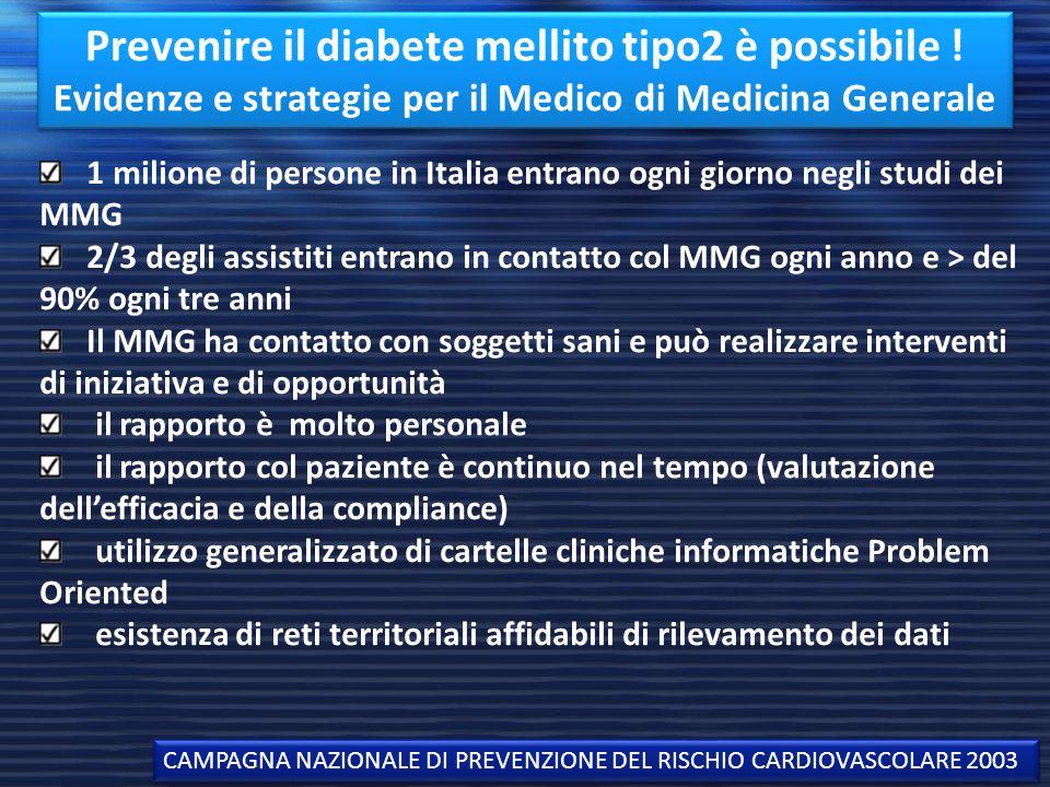 Prevenire il diabete mellito tipo2 è possibile ! Evidenze e strategie per il Medico di Medicina Generale CAMPAGNA NAZIONALE DI PREVENZIONE DEL RISCHIO