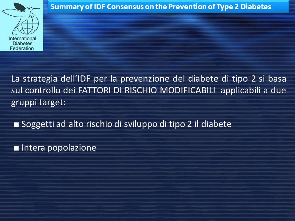 Summary of IDF Consensus on the Prevention of Type 2 Diabetes La strategia dell'IDF per la prevenzione del diabete di tipo 2 si basa sul controllo dei