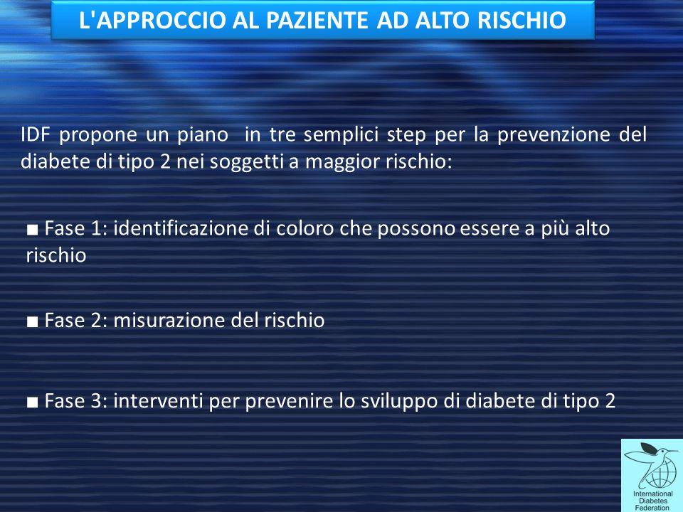 IDF propone un piano in tre semplici step per la prevenzione del diabete di tipo 2 nei soggetti a maggior rischio: ■ Fase 2: misurazione del rischio ■