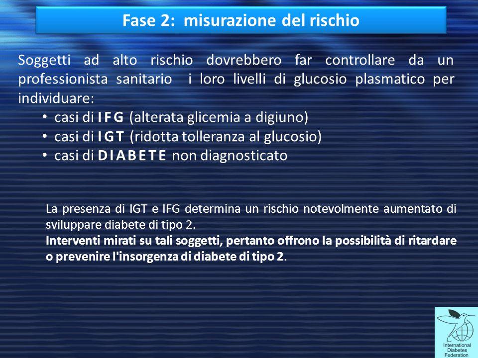Fase 2: misurazione del rischio Soggetti ad alto rischio dovrebbero far controllare da un professionista sanitario i loro livelli di glucosio plasmati