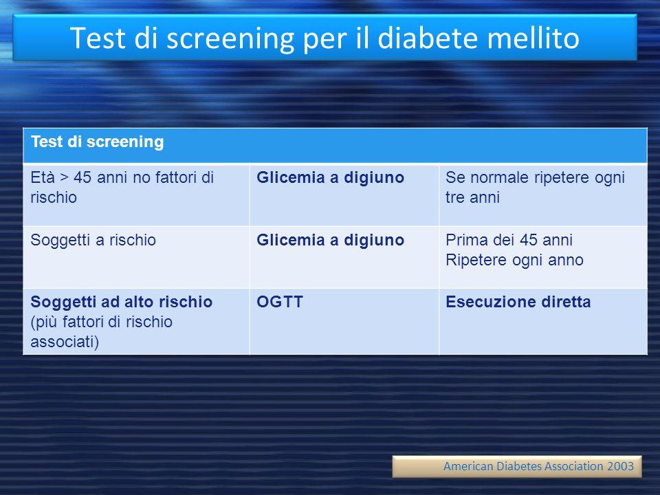 Test di screening per il diabete mellito Test di screening Età > 45 anni no fattori di rischio Glicemia a digiunoSe normale ripetere ogni tre anni Sog