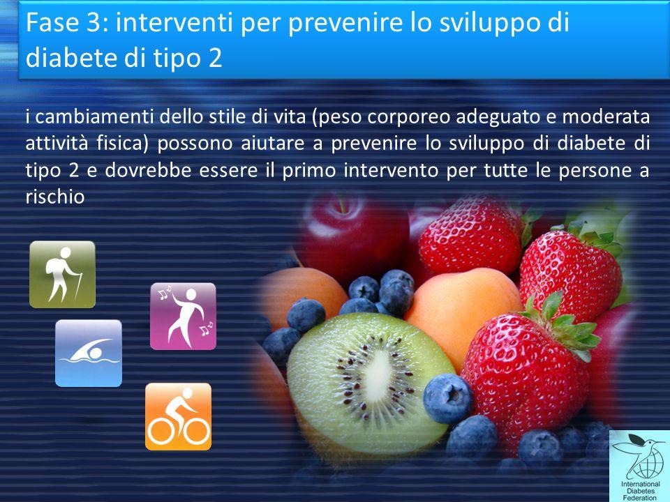 Fase 3: interventi per prevenire lo sviluppo di diabete di tipo 2 i cambiamenti dello stile di vita (peso corporeo adeguato e moderata attività fisica