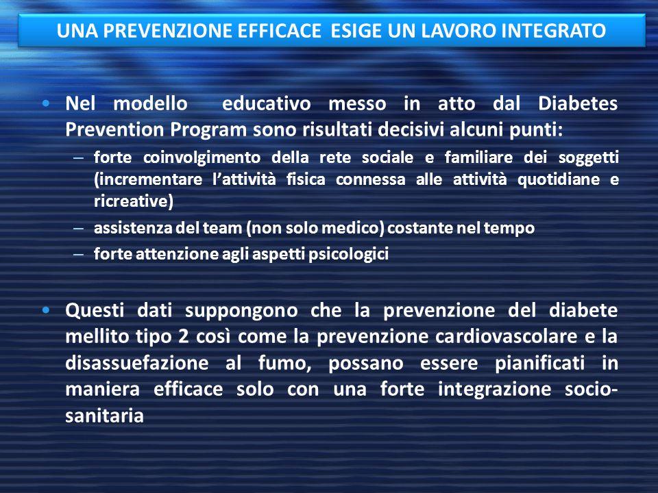 Nel modello educativo messo in atto dal Diabetes Prevention Program sono risultati decisivi alcuni punti: – forte coinvolgimento della rete sociale e