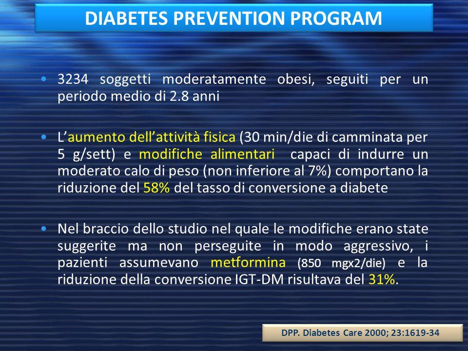 DIABETES PREVENTION STUDY 522 soggetti obesi seguiti per un periodo medio di 3.2 anni I soggetti con IGT e quindi a rischio di diabete riducevano del 58% il rischio di sviluppare diabete con: – Attività fisica (>150 min/sett) – Dieta ipolipidica (<30% cal.