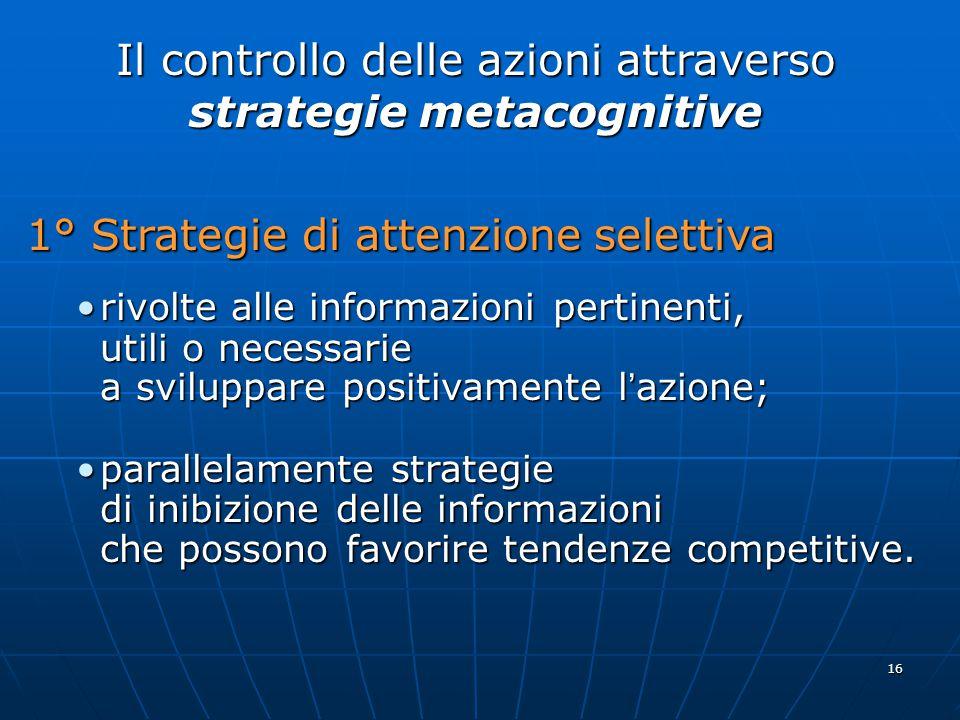 16 Il controllo delle azioni attraverso strategie metacognitive 1° Strategie di attenzione selettiva rivolte alle informazioni pertinenti,rivolte alle informazioni pertinenti, utili o necessarie a sviluppare positivamente l ' azione; parallelamente strategieparallelamente strategie di inibizione delle informazioni che possono favorire tendenze competitive.