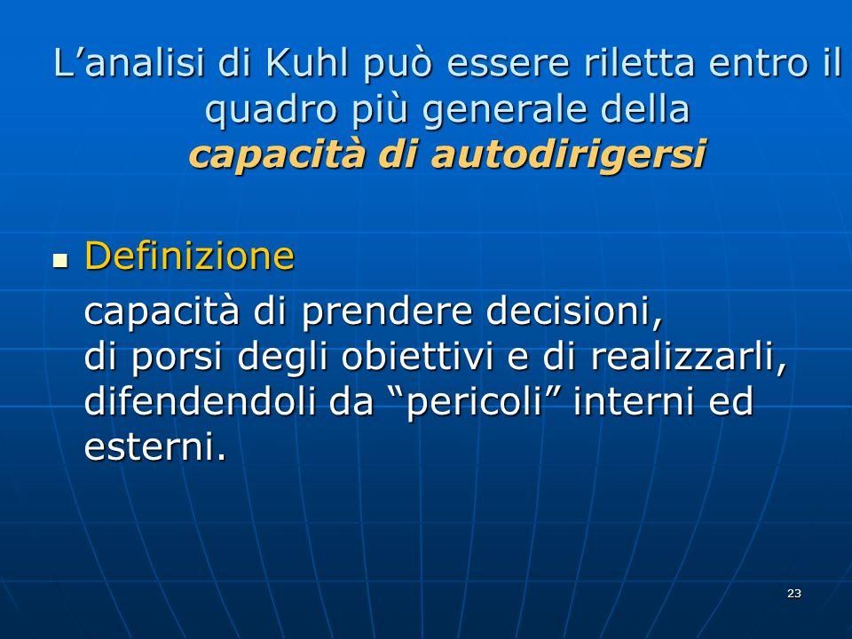 23 L'analisi di Kuhl può essere riletta entro il quadro più generale della capacità di autodirigersi Definizione Definizione capacità di prendere decisioni, di porsi degli obiettivi e di realizzarli, difendendoli da pericoli interni ed esterni.