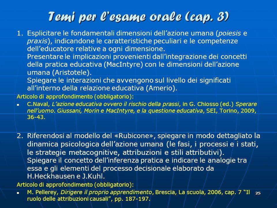 25 Temi per l'esame orale (cap.3) 1.