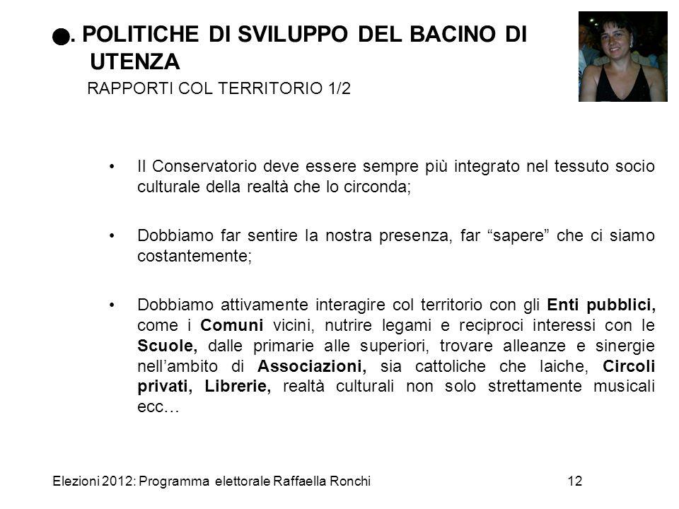 Elezioni 2012: Programma elettorale Raffaella Ronchi12. POLITICHE DI SVILUPPO DEL BACINO DI UTENZA RAPPORTI COL TERRITORIO 1/2 Il Conservatorio deve e