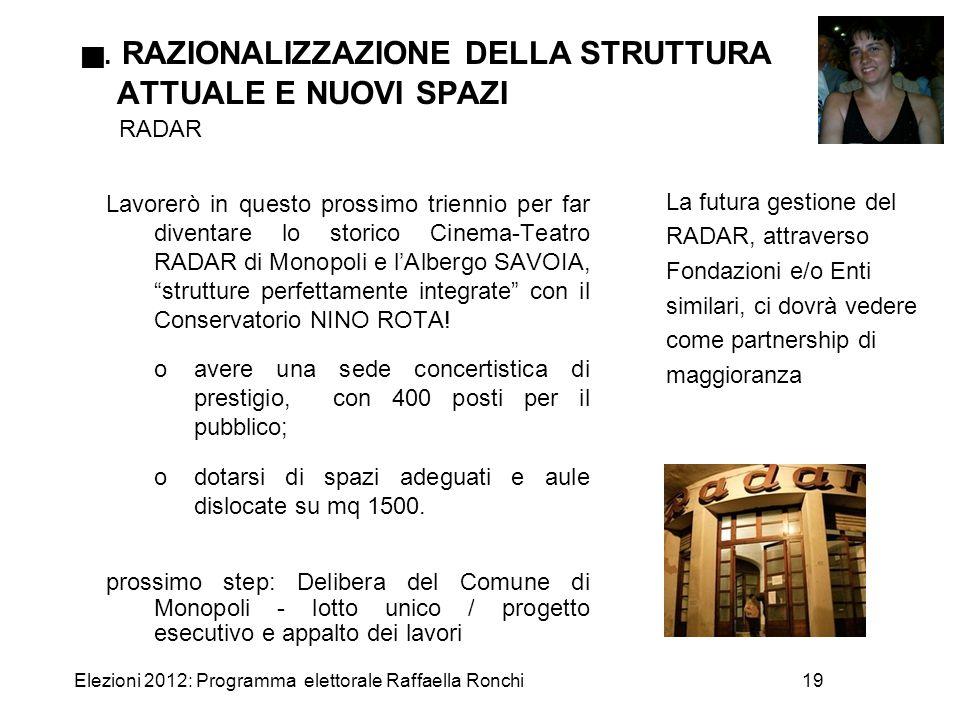 Elezioni 2012: Programma elettorale Raffaella Ronchi19 . RAZIONALIZZAZIONE DELLA STRUTTURA ATTUALE E NUOVI SPAZI RADAR Lavorerò in questo prossimo tr