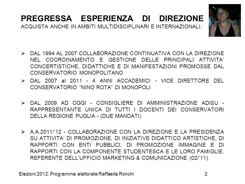 Elezioni 2012: Programma elettorale Raffaella Ronchi2 PREGRESSA ESPERIENZA DI DIREZIONE ACQUISTA ANCHE IN AMBITI MULTIDISCIPLINARI E INTERNAZIONALI: 