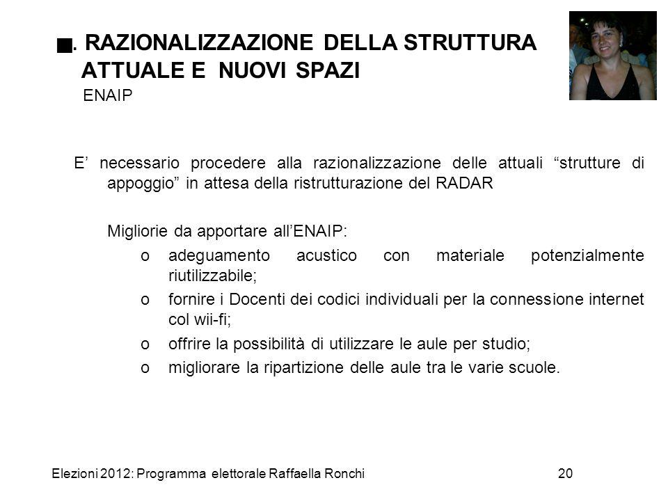 Elezioni 2012: Programma elettorale Raffaella Ronchi20 . RAZIONALIZZAZIONE DELLA STRUTTURA ATTUALE E NUOVI SPAZI ENAIP E' necessario procedere alla r