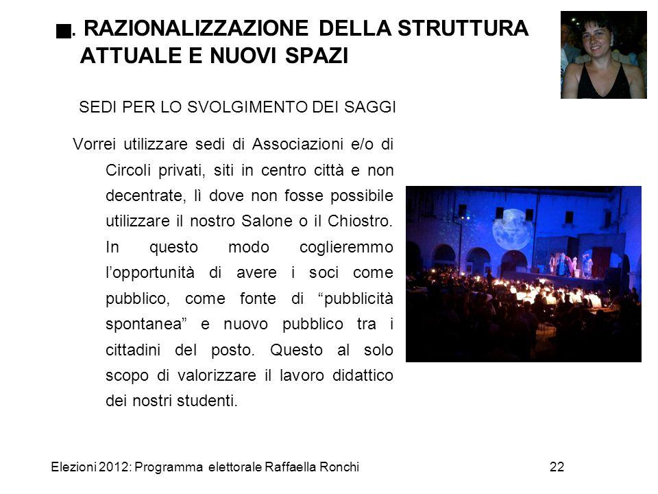 Elezioni 2012: Programma elettorale Raffaella Ronchi22 . RAZIONALIZZAZIONE DELLA STRUTTURA ATTUALE E NUOVI SPAZI SEDI PER LO SVOLGIMENTO DEI SAGGI Vo