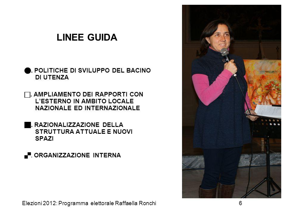 Elezioni 2012: Programma elettorale Raffaella Ronchi6 LINEE GUIDA. POLITICHE DI SVILUPPO DEL BACINO DI UTENZA . AMPLIAMENTO DEI RAPPORTI CON L'ESTERN