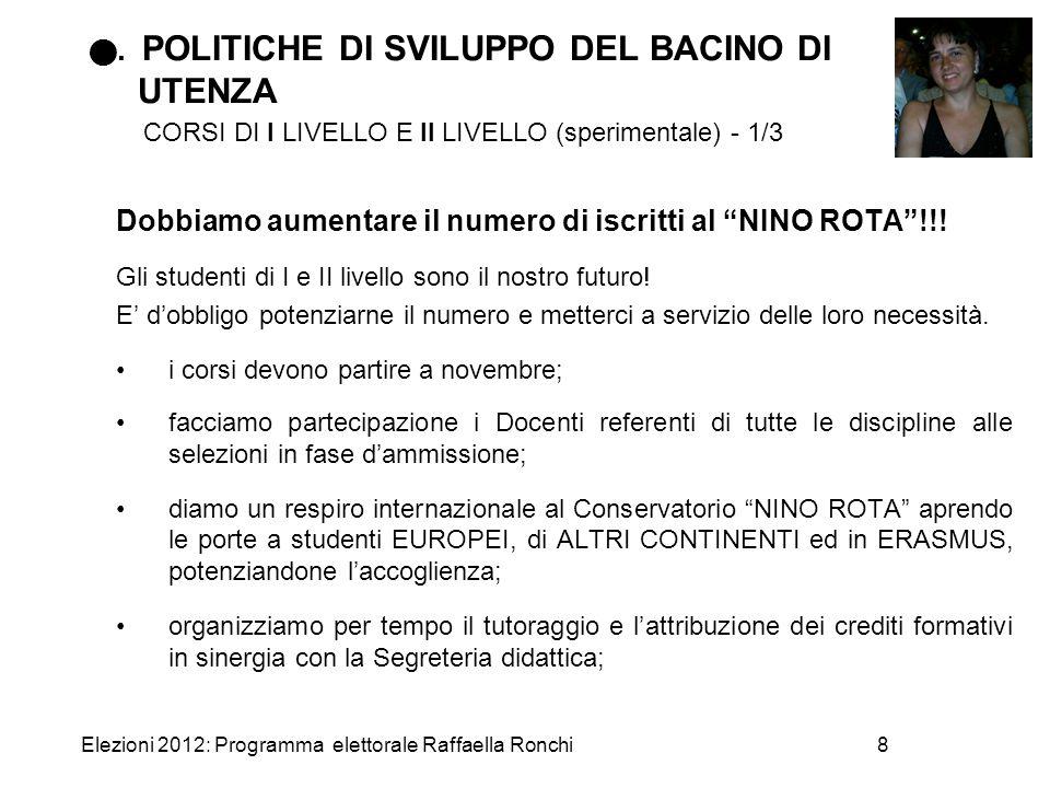 Elezioni 2012: Programma elettorale Raffaella Ronchi8. POLITICHE DI SVILUPPO DEL BACINO DI UTENZA CORSI DI I LIVELLO E II LIVELLO (sperimentale) - 1/3