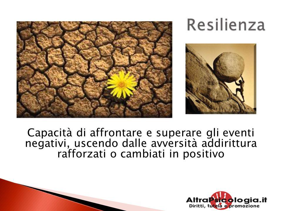 Capacità di affrontare e superare gli eventi negativi, uscendo dalle avversità addirittura rafforzati o cambiati in positivo