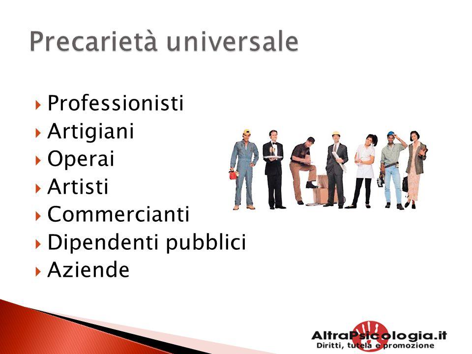  Professionisti  Artigiani  Operai  Artisti  Commercianti  Dipendenti pubblici  Aziende