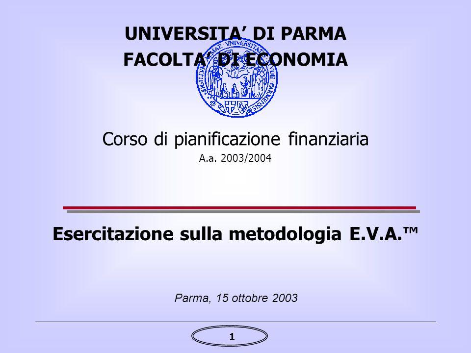1 Esercitazione sulla metodologia E.V.A.™ Parma, 15 ottobre 2003 UNIVERSITA' DI PARMA FACOLTA' DI ECONOMIA Corso di pianificazione finanziaria A.a. 20