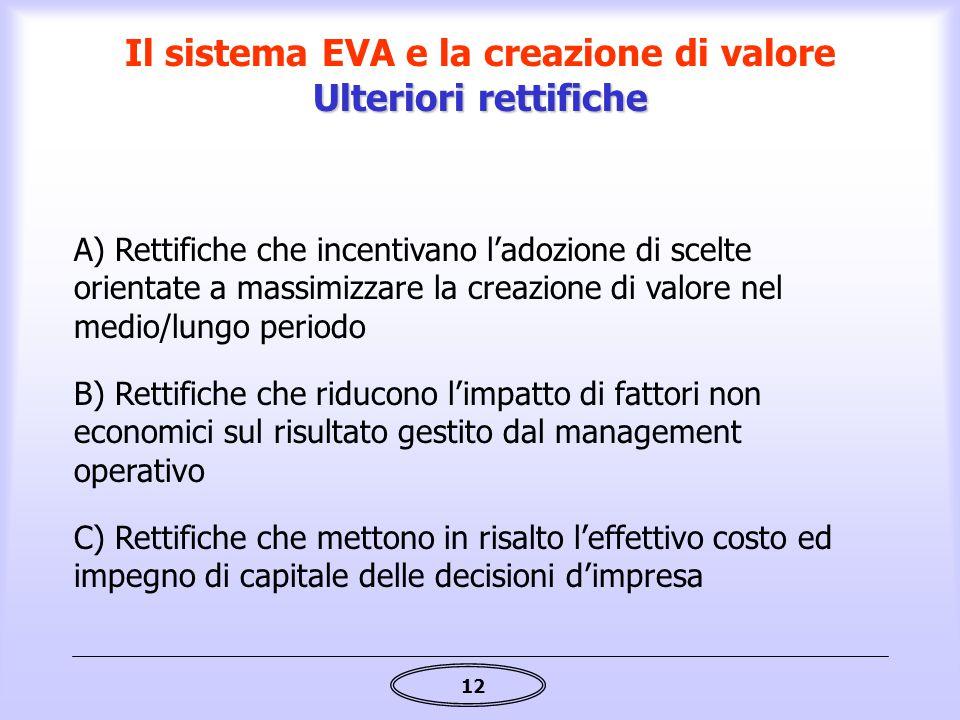 12 C) Rettifiche che mettono in risalto l'effettivo costo ed impegno di capitale delle decisioni d'impresa B) Rettifiche che riducono l'impatto di fat