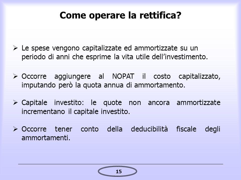 15 Come operare la rettifica?  Le spese vengono capitalizzate ed ammortizzate su un periodo di anni che esprime la vita utile dell'investimento.  Oc