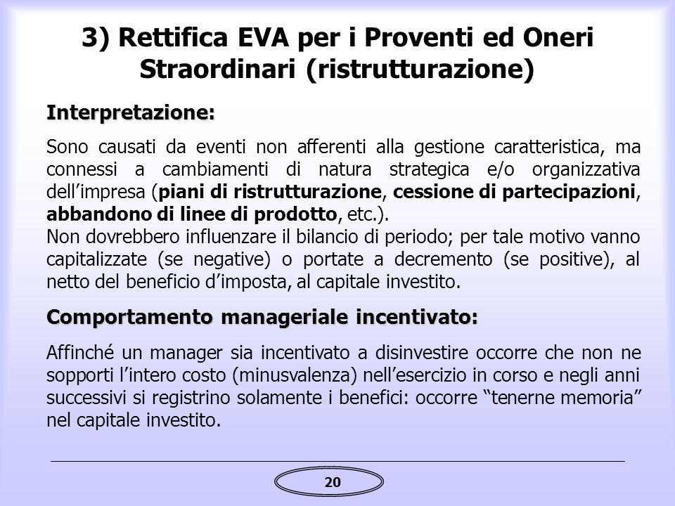 20 Interpretazione: Sono causati da eventi non afferenti alla gestione caratteristica, ma connessi a cambiamenti di natura strategica e/o organizzativ
