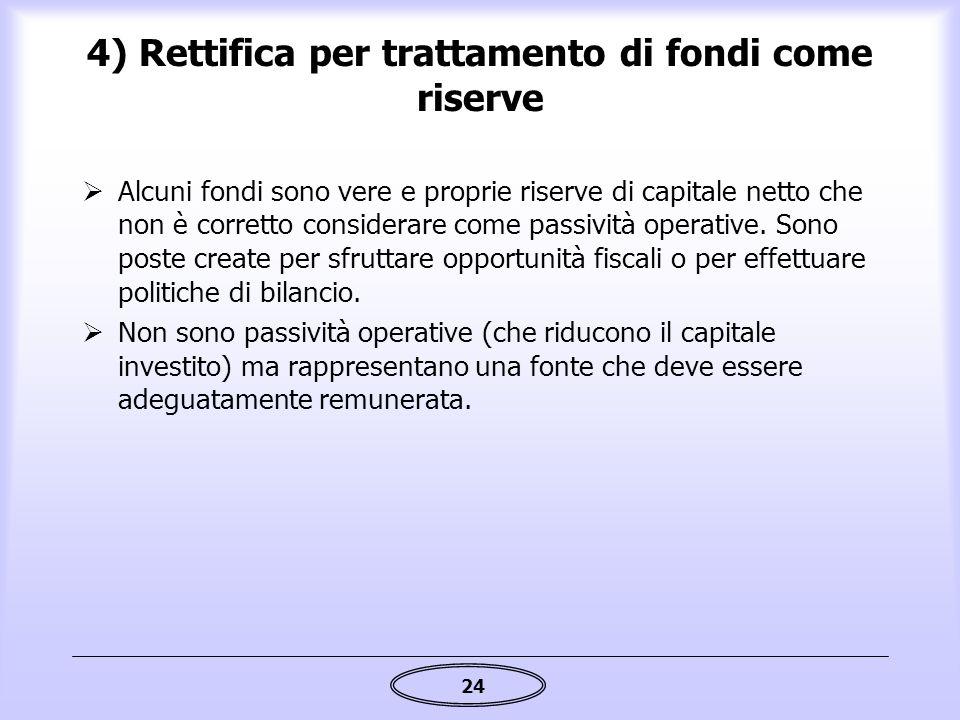24 4) Rettifica per trattamento di fondi come riserve  Alcuni fondi sono vere e proprie riserve di capitale netto che non è corretto considerare come