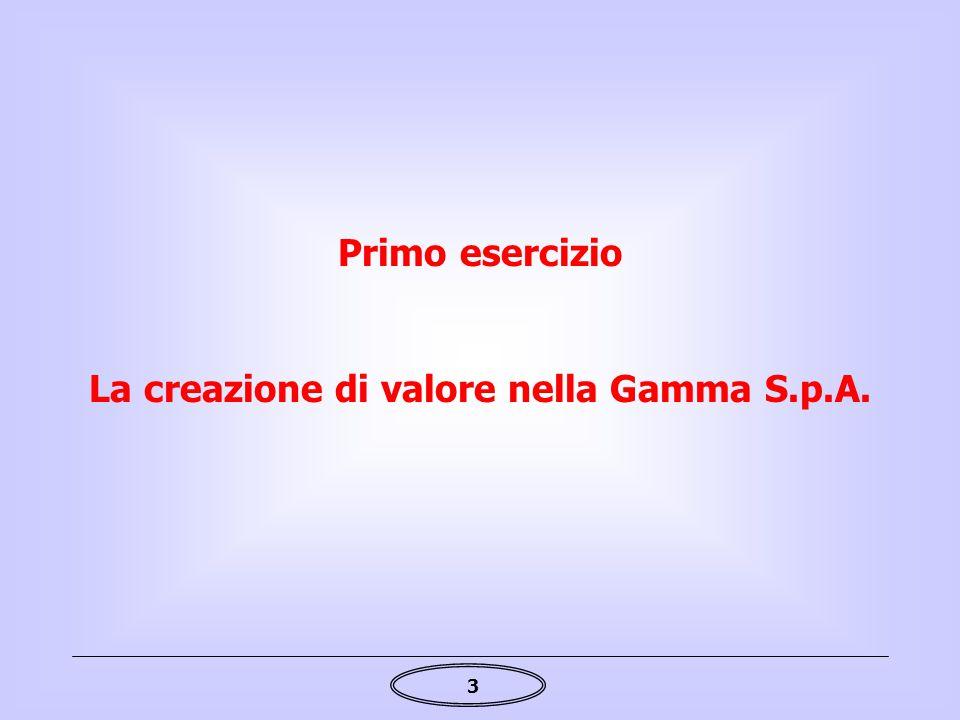 3 La creazione di valore nella Gamma S.p.A. Primo esercizio