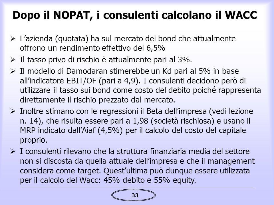33 Dopo il NOPAT, i consulenti calcolano il WACC  L'azienda (quotata) ha sul mercato dei bond che attualmente offrono un rendimento effettivo del 6,5