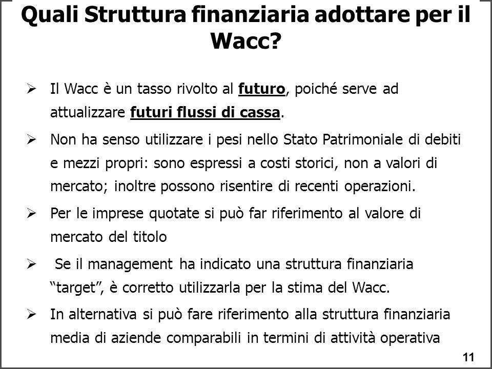 11 Quali Struttura finanziaria adottare per il Wacc.