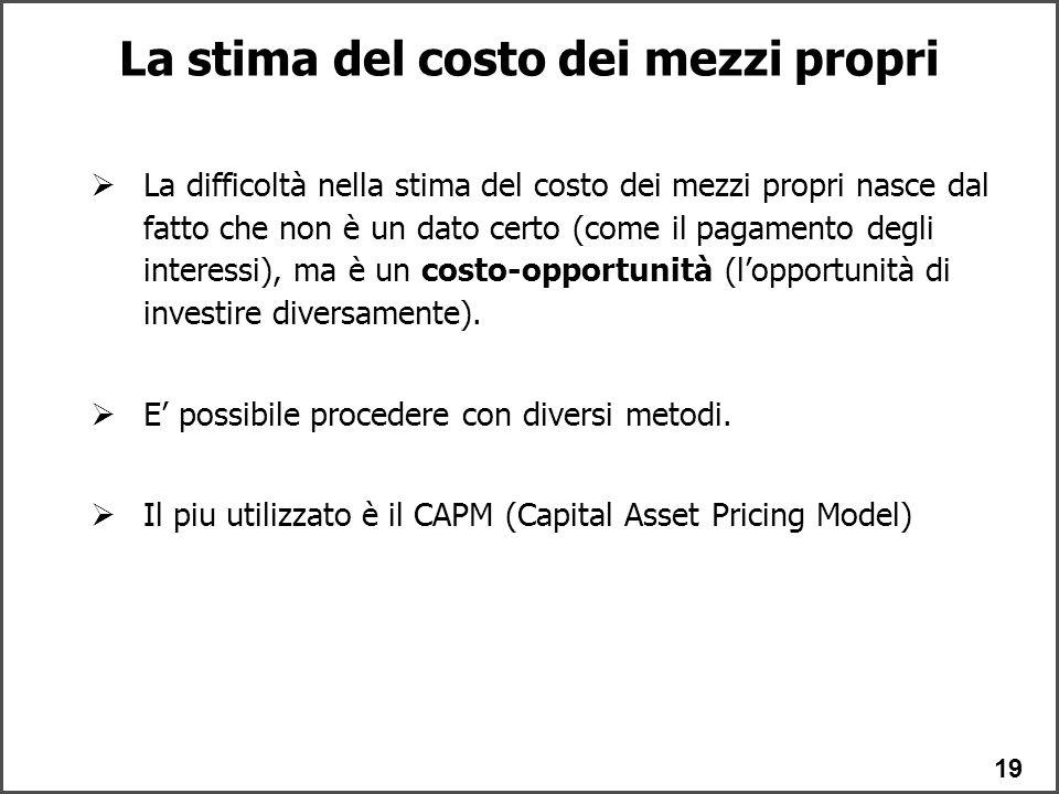19  La difficoltà nella stima del costo dei mezzi propri nasce dal fatto che non è un dato certo (come il pagamento degli interessi), ma è un costo-opportunità (l'opportunità di investire diversamente).