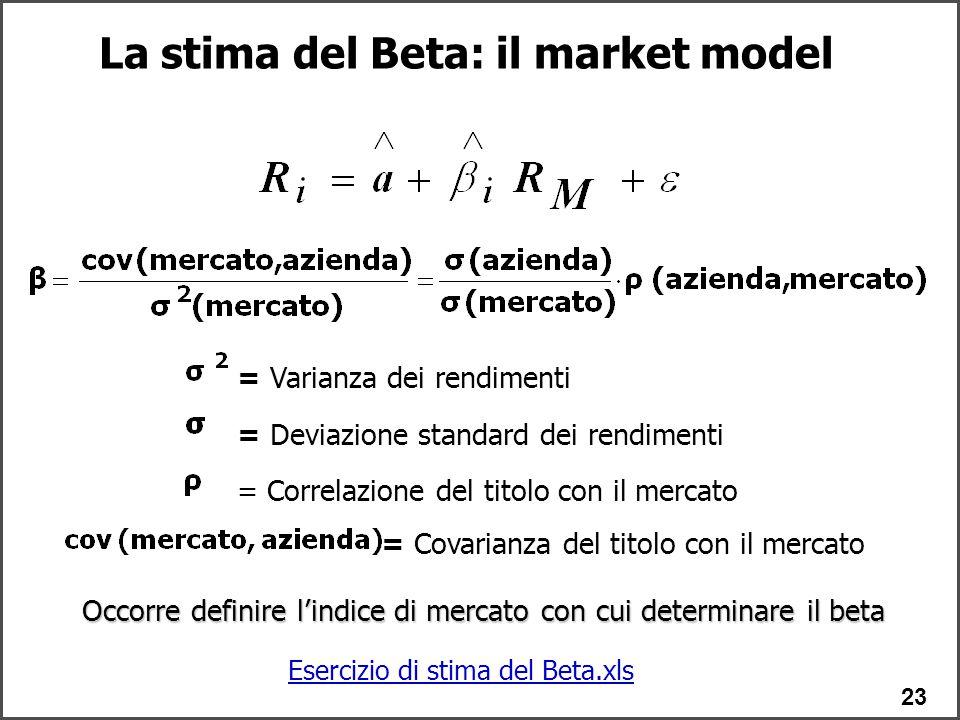 23 Occorre definire l'indice di mercato con cui determinare il beta = Deviazione standard dei rendimenti = Correlazione del titolo con il mercato La stima del Beta: il market model = Varianza dei rendimenti = Covarianza del titolo con il mercato Esercizio di stima del Beta.xls