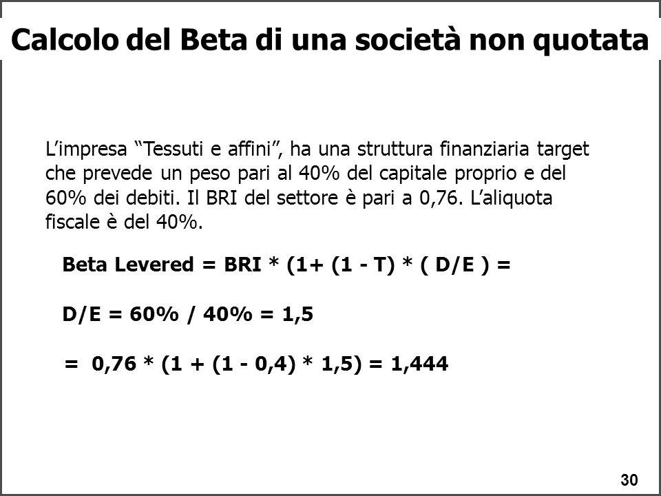 30 Calcolo del Beta di una società non quotata L'impresa Tessuti e affini , ha una struttura finanziaria target che prevede un peso pari al 40% del capitale proprio e del 60% dei debiti.