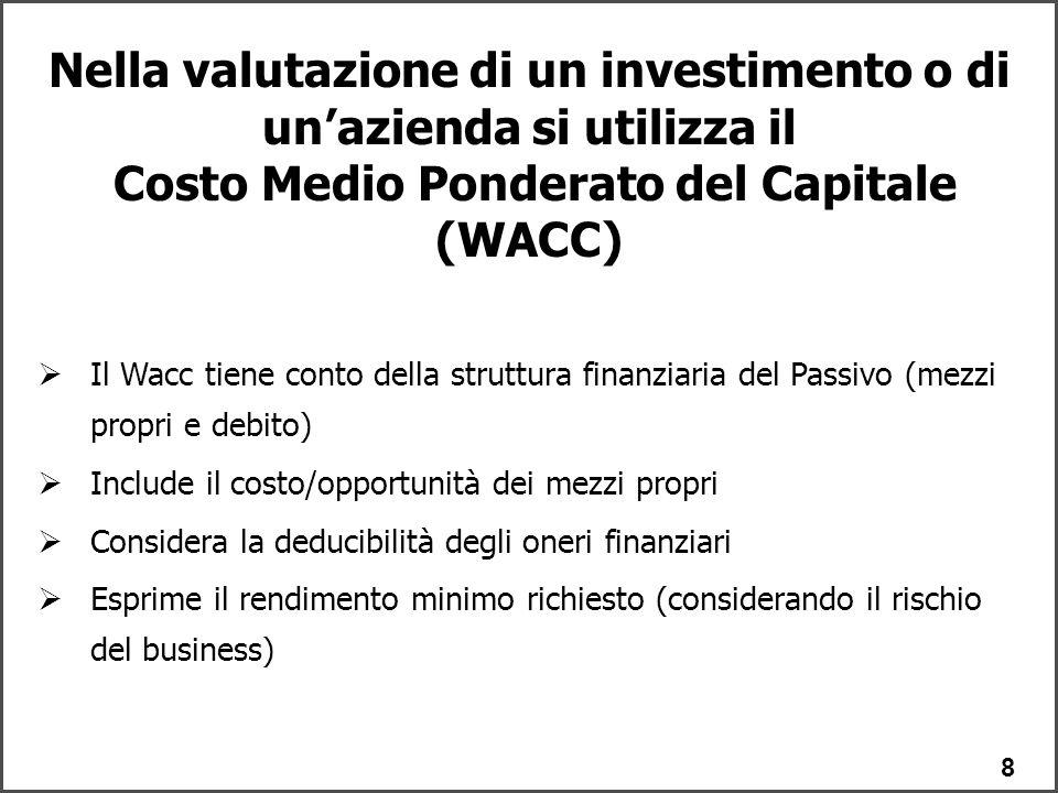 8  Il Wacc tiene conto della struttura finanziaria del Passivo (mezzi propri e debito)  Include il costo/opportunità dei mezzi propri  Considera la deducibilità degli oneri finanziari  Esprime il rendimento minimo richiesto (considerando il rischio del business) Nella valutazione di un investimento o di un'azienda si utilizza il Costo Medio Ponderato del Capitale (WACC)