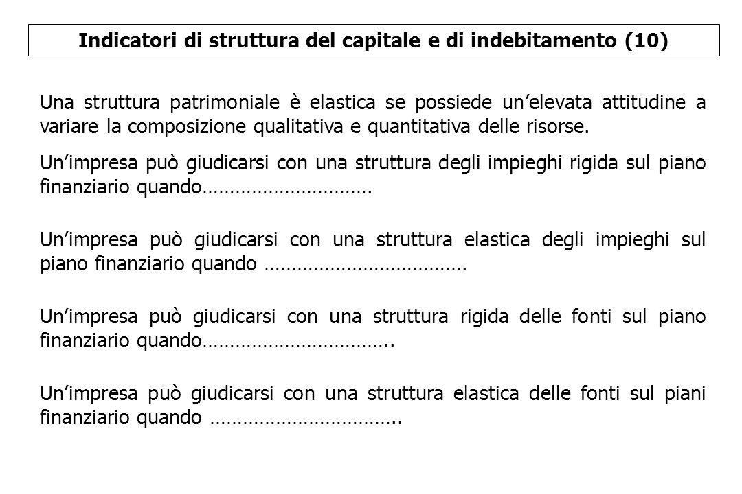 Indicatori di struttura del capitale e di indebitamento (10) Una struttura patrimoniale è elastica se possiede un'elevata attitudine a variare la comp