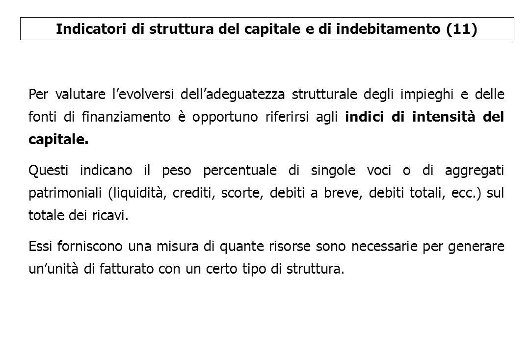 Indicatori di struttura del capitale e di indebitamento (11) Per valutare l'evolversi dell'adeguatezza strutturale degli impieghi e delle fonti di fin