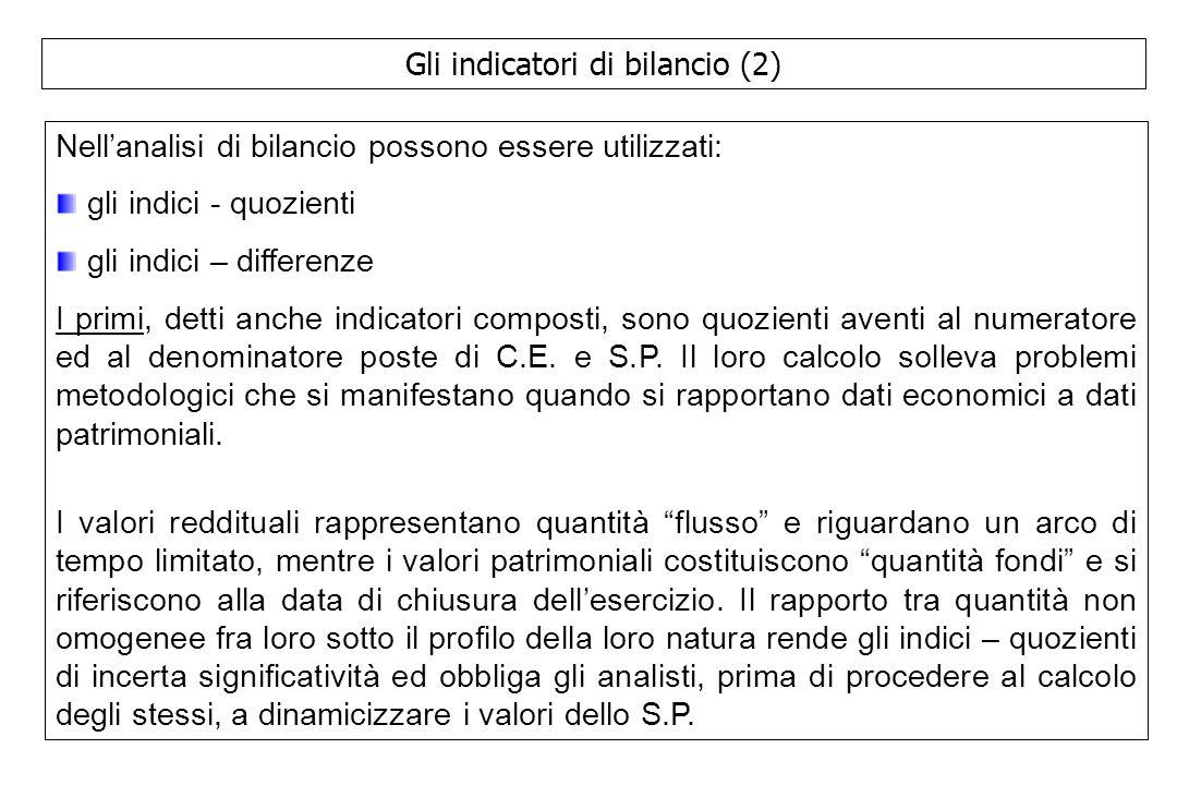 Gli indicatori di bilancio (2) Nell'analisi di bilancio possono essere utilizzati: gli indici - quozienti gli indici – differenze I primi, detti anche