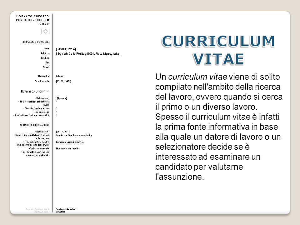Un curriculum vitae viene di solito compilato nell'ambito della ricerca del lavoro, ovvero quando si cerca il primo o un diverso lavoro. Spesso il cur