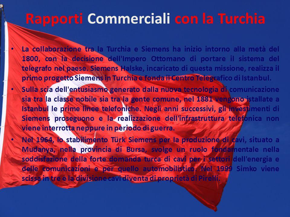 Rapporti Commerciali con la Turchia La collaborazione tra la Turchia e Siemens ha inizio intorno alla metà del 1800, con la decisione dell'Impero Otto