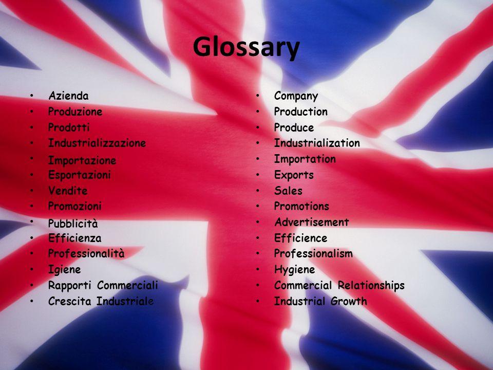 Glossary Azienda Produzione Prodotti Industrializzazione Importazione Esportazioni Vendite Promozioni Pubblicità Efficienza Professionalità Igiene Rap