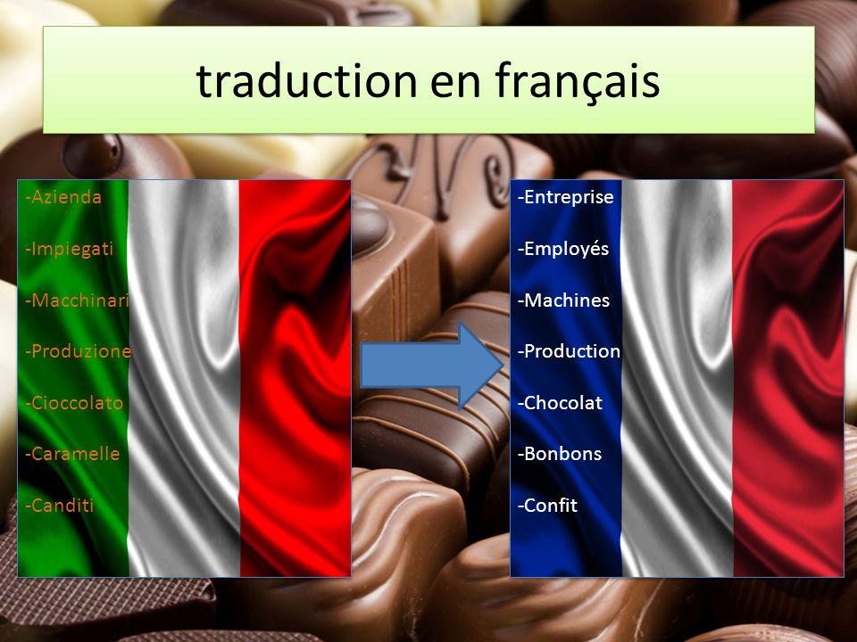 traduction en français traduction en français -Azienda -Impiegati -Macchinari -Produzione -Cioccolato -Caramelle -Canditi -Azienda -Impiegati -Macchin