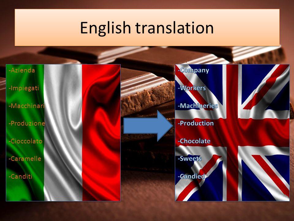 English translation -Azienda -Impiegati -Macchinari -Produzione -Cioccolato -Caramelle -Canditi -Azienda -Impiegati -Macchinari -Produzione -Cioccolat
