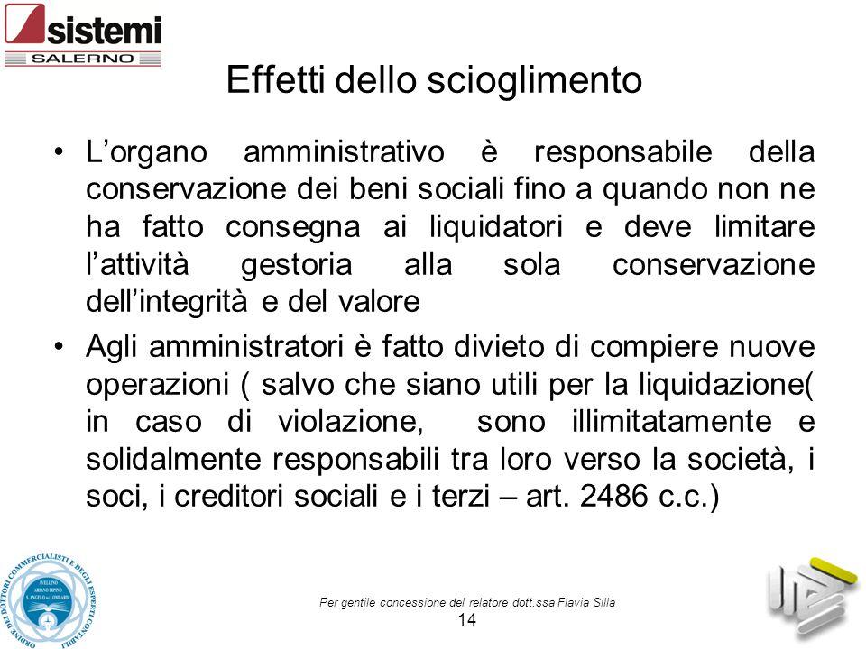 Effetti dello scioglimento L'organo amministrativo è responsabile della conservazione dei beni sociali fino a quando non ne ha fatto consegna ai liqui