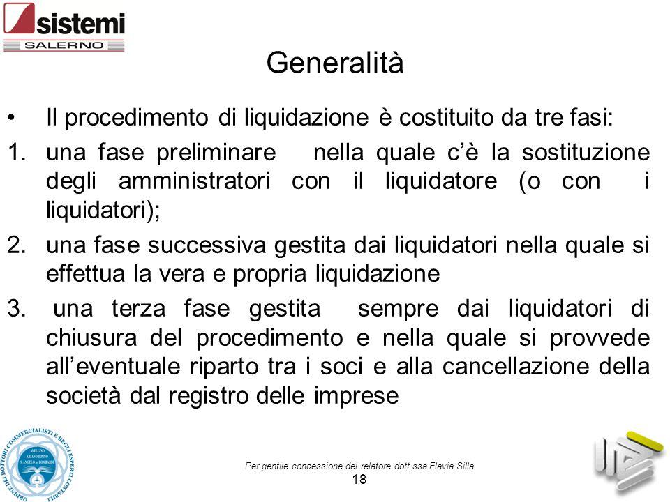 Per gentile concessione del relatore dott.ssa Flavia Silla 18 Generalità Il procedimento di liquidazione è costituito da tre fasi: 1.una fase prelimin