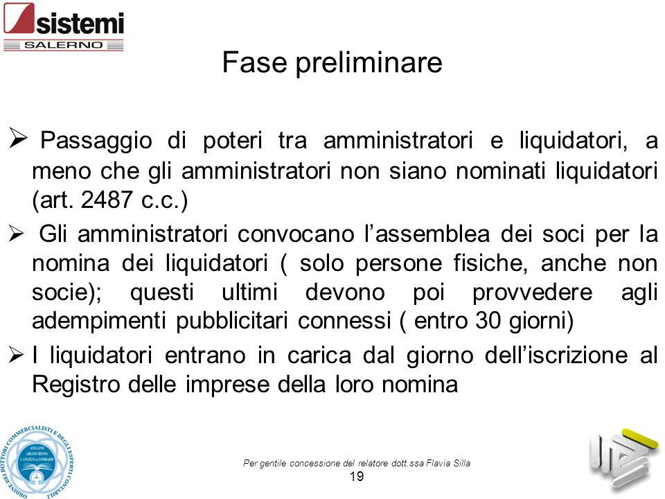 Per gentile concessione del relatore dott.ssa Flavia Silla 19 Fase preliminare  Passaggio di poteri tra amministratori e liquidatori, a meno che gli