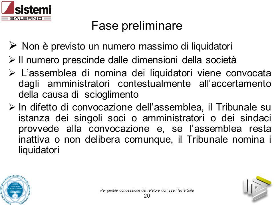 Per gentile concessione del relatore dott.ssa Flavia Silla 20 Fase preliminare  Non è previsto un numero massimo di liquidatori  Il numero prescinde