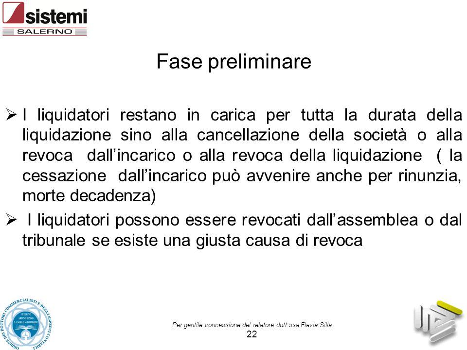 Per gentile concessione del relatore dott.ssa Flavia Silla 22 Fase preliminare  I liquidatori restano in carica per tutta la durata della liquidazion