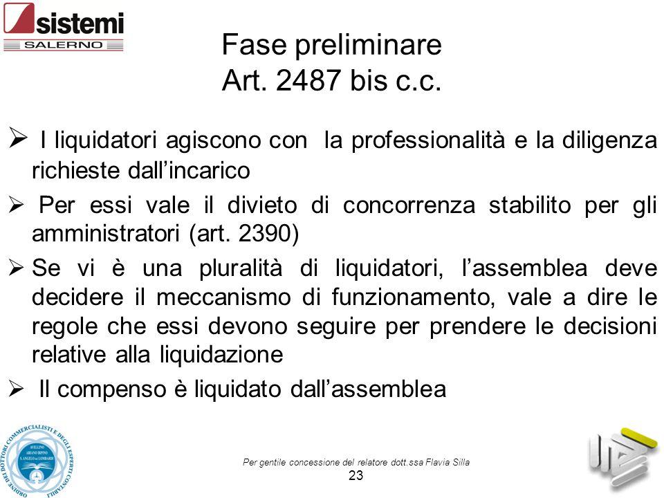Per gentile concessione del relatore dott.ssa Flavia Silla 23 Fase preliminare Art. 2487 bis c.c.  I liquidatori agiscono con la professionalità e la